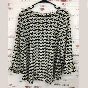 Pixley Hummingbird Print Blouse Black/Tan